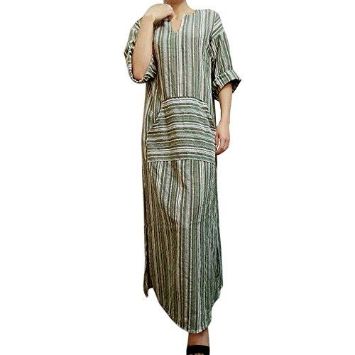 Kobay Femmes Robe Longue Caftan à Manches Longues Et à Rayures(Large,Vert)