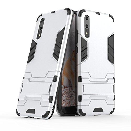 Huawei P20 Hülle,Huawei P20 Pro Handy Tasche,Roreikes Hybrid 2in1 Ultra Slim TPU+PC Schutzhülle Anti-Scratch-PC-Rückwand mit Faltbar Foldable Ständer Bumper Cover schutzhülle Tough Strong Rugged Shock Proof Heavy Duty Case für Huawei P20 5.8 Zoll