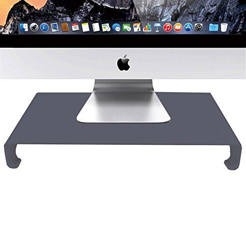 ENHAO Monitor Ständer riser- Universal Aluminium Ergonomische 40,6cm breit PC Halter Stütze mit Tastatur Speicher für PC-Monitor, Laptop, iMac, Macbook und mehr Schwarz
