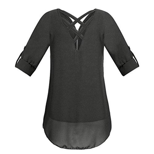 ESAILQ Damen Tunika Sommer Tops Damen Kurzarm Basic Uni Leichtes Freizeit Rundhals mit Knopf Plissee T-Shirt Oberteile(S,Schwarz) - 2