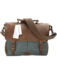 FAIRY COUPLE para hombre de cuero con el bolso de la bolsa de hombro de la lona del hombre de negocios informal Laptop Maletín C5068