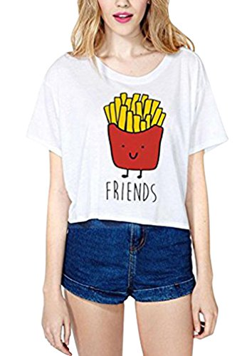 AIYUE Damen weiss Shirt kurzarm T Shirt Damen mit Aufdruck Best Friends T-Shirt Pommes Frites Damen Sommer Tops Mit Cartoon, EU 34 / S, Weiss