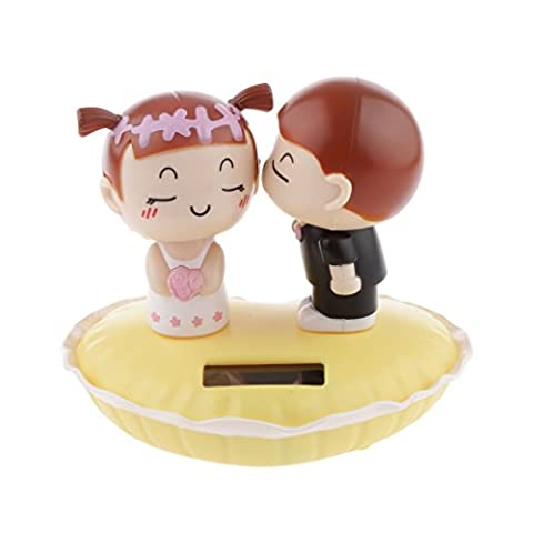 MagiDeal Cute Solar Powered Kissing Baby Bobble Head Dancing Toys Yellow