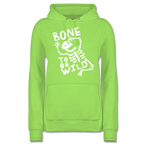 Halloween - Bone to me Wild Halloween Kostüm - M - Limonengrün - JH001F - Damen Hoodie