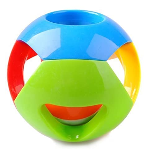 Multicolor Jingle Ball Toy, Growing Baby Clutch Ball with Jingle Bell by Naughty Baby