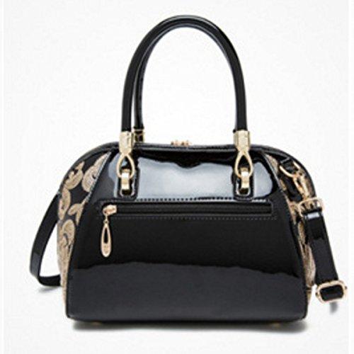 Damenhandtasche Aus Leder Gestickte Umhängetasche Black