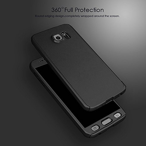 Ae Mobile Accessorize 360 Degree Front FITBEST Back Cover Case With PET Tempered Glass For Samsung Galaxy S6 Edge - BLACK (look like ipaky)