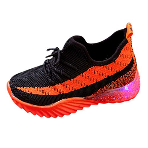 Unisex Bambini Scarpe Luminosi Sneakers con Le Luci Accendono Scarpe Sportive - Running Sneakers Traspirante Basso Ultraleggero Sport Baskets Shoes Stivaletto(21,Arancia)