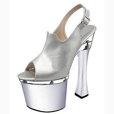 Zapatillas de mujer &Amp; Flip-Flops zapatillas PVC Summer Party &Amp; Noche Crystal Stiletto talón Ruby Negro Blanco 5en &Amp,Plata,US11/UE43/UK9/CN44