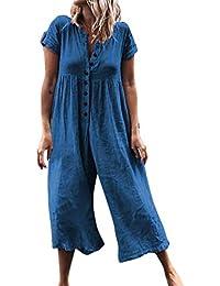 86ebabc9e54 Deloito Women Fashion Casual Button Loose Solid Short Sleeve Playsuit Long  Jumpsuits