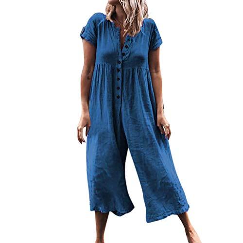 ZZXIAN Jumpsuits Sommer Lang, Casual Overalls Damen Elegant Latzhose Frauen Fasching Leinen Plus Size Bodysuit Push Up Strandmode