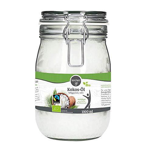 borchers Bio-Fairtrade Kokos-Öl, Im Bügelglas, Naturbelassen, Zum Kochen & Backen 1000 ml