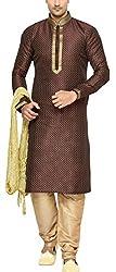 Indian Poshakh Men's Silk Sherwani (1187_42, 42, Brown and Beige)