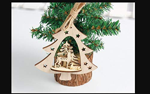 Miniature Bowl - 3d Wooden Christmas Tree Diy Pendants Hanging Home Desk Decoration Kid Xmas Festival Ornaments Gift - Wood Sheep Desk Fire Miniature Fold Child Ornament Ornaments Fruit Modern -