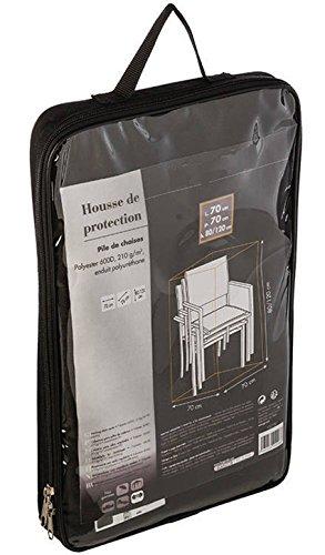 PEGANE Housse de Protection pour Pile de chaises en Polyester Coloris Noir - Dim : L 70 x P 70 x H 80/120cm