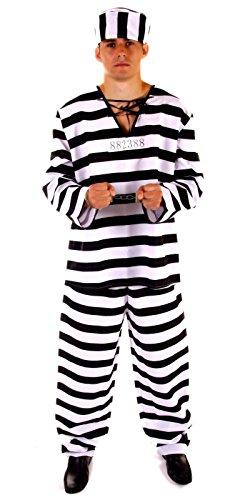 Männlich Kostüm Gefangener - Henbrandt Erwachsene schwarz & weiß männlich Gefangene Sträfling Kostüm [Standard] Gr. onesize, standard