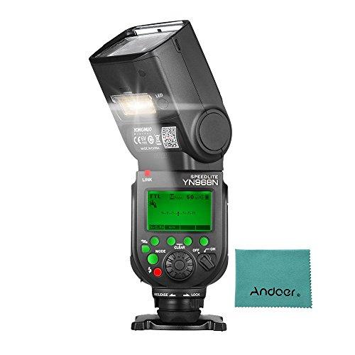 YONGNUO YN968N - Kabelloser TTL-Blitz, Speedlite 1/8000s HSS, ausgestattet mit eingebautem LED-Licht, 5600K für Nikon DSLR Kameras, kompatibel mit YN622N YN560 Wireless System Yongnuo Flash