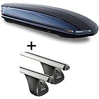 Dachbox VDPMAA320 320Ltr abschließbar schwarz + Aluminium Dachträger Aurilis Original für Audi A3 (8P) (3Türer) 2003-2012