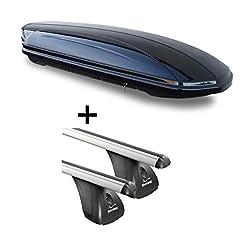 Dachbox VDPMAA320 320Ltr abschließbar schwarz + Aluminium Dachträger Aurilis Original kompatibel mit Mercedes CLA Shooting Brake (5Türer) ab 2015