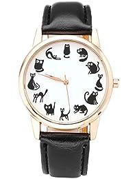 JSDDE - Reloj con diseño de dibujos animados de gatos, correa de piel sintética de PU, para mujer, oro rosa, analógico, de cuarzo reloj, color negro