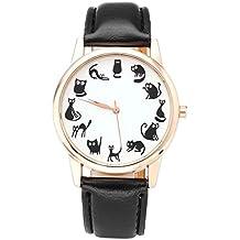 JSDDE RELOJ de Señora Divertido Diseño de Gatitos, Caja Oro Rosa, Correa Cuero PU, Reloj Pulsera de Cuarzo para Mujeres Chicas, Negro