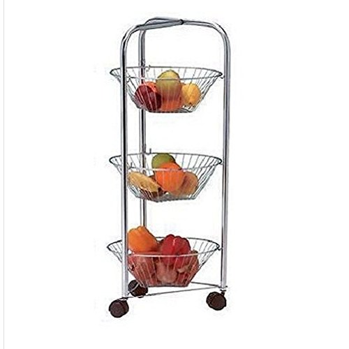 3 Tier Round Chrome Vegetable Fruit Storage Trolley Rack Stand Basket Kitchen/ Food Eating Furniture Device Stuff Bar Dining Kitchen Restaurant Utensils Equipment Store Shop Cooking Cook Cookware Home House Storage Chef Culinary Items Unique Special Gift