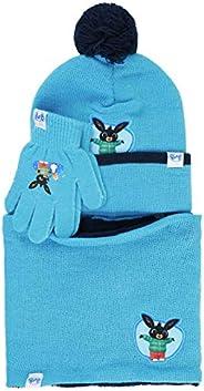 Characters Cartoons Bing Bunny - Bambina Bambino - Set Invernale 3pz Cappello Guanti e Sciarpa o Scaldacollo [
