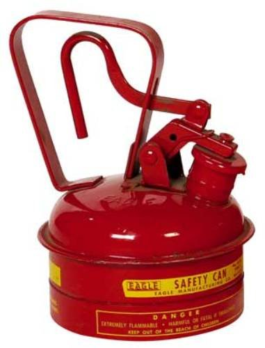 EAGLE UI-2-S RED GALVANIZED STEEL TYPE I GAS SAFETY CAN  1 QUART CAPACITY  8 HEIGHT  5 25 DIAMETER