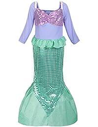ReliBeauty –Fille – Robe de princessemanches longue Déguisement de Sirène Jupe Fishtail paillets brillants Costume d'halloween cosplay