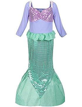 ReliBeauty Mädchen Pailletten kleine Meerjungfrau Kostüm