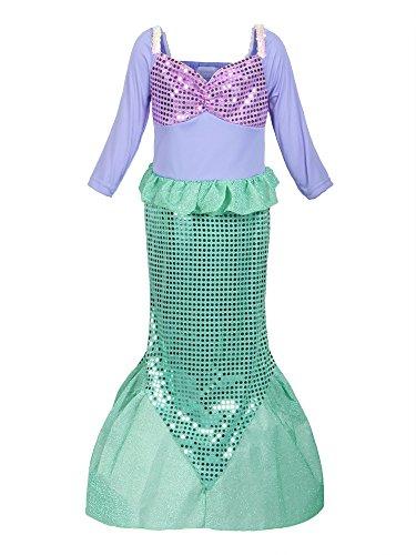 ReliBeauty Mädchen Pailletten kleine Meerjungfrau Kostüm, 128-134 (Nette Und Günstige Kostüm)