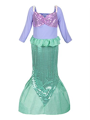 Kostüm Disney Besten Cosplay - ReliBeauty Mädchen Pailletten kleine Meerjungfrau Kostüm, 116-122