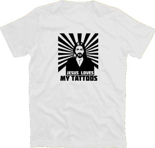 JESUS LOVES MY TATTOOS T-Shirt Weiss L