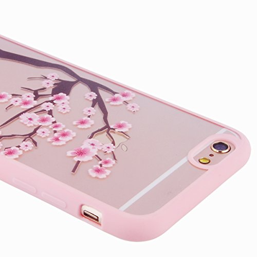 iPhone 6 / 6S Custodia, Yokata PC Silicone Bumper Goccia Protezione Cover Rosa Trasparente Crystal Clear Backcover Utral Slim Ultra Sottile Luce Case per iPhone 6 / 6S + 1 * Stilo Penna - Coniglio Albero di Prugne