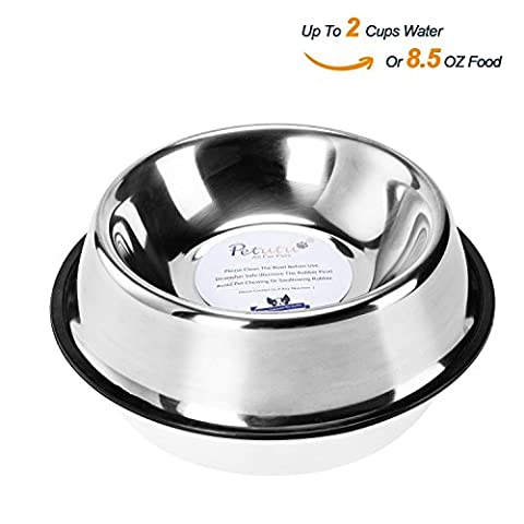 Stainless Steel Dog Bowls With Rubber Base Non-Skid Classical Food Bowl,Water Bowl For All Pets Rust Resistant (Various Sizes Available) By Petutu-M(Up to 8.5oz Food)