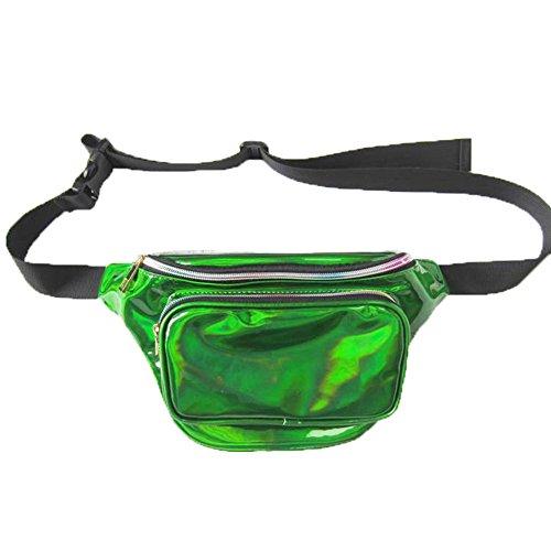 Neborn Holographische Frauen Fanny-Pack Gürtel Tasche Shiny Neon Laser Hologramm Taille Taschen Reise Schulter Tasche Party Rave Hüfte Bum Tasche (Grün)