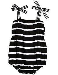 457183ceb ZXCVBN Newborn Infant Baby Girls Romper Jumpsuit Summer Sleeveless White  Black Striped Baby Rompers Sunsuit 0