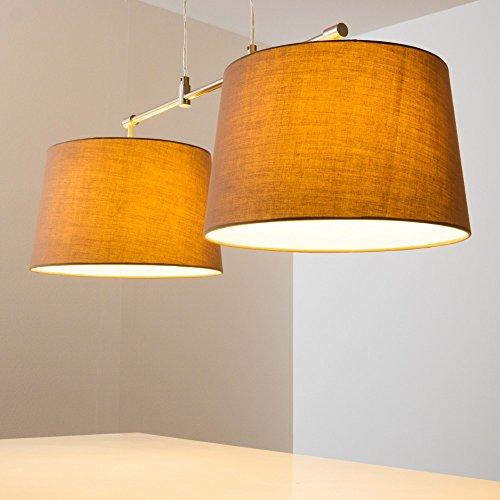 Pendelleuchte aus Stoff  – 2-flammige Zimmerlampe Höhenverstellbar, Farbe Cappuccino - 3