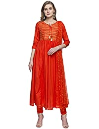 Haute Curry Womens Tie Up Neck Printed Churidar Suit