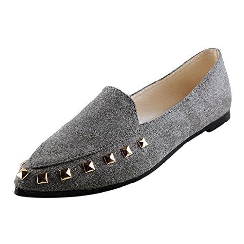 Damen Flats, FEITONG Frauen Niet Flats Schuhe Soft Slip-On Casual Schuhe Spitze Schuhe (EU:39=CN:40, Gray) (Schuh-komfort Casual Kleid Arbeiten)
