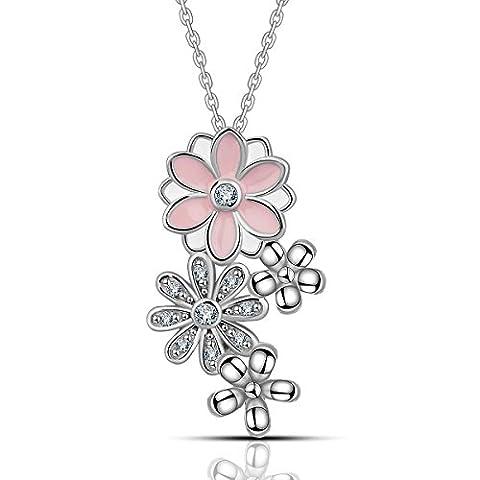 Eudora Argent sterling 925 Marguerite poétique fleur de cerisier Fleur Rose Pendentif Bijouterie Femme beau
