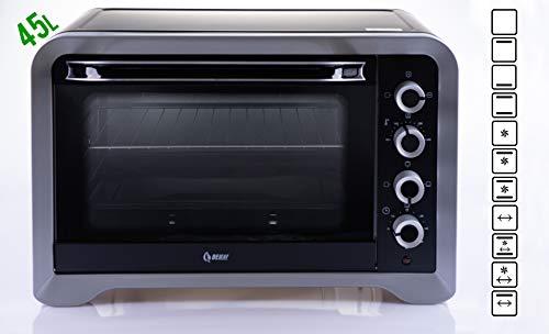 Minibackofen mit Umluft BeLeaf - 45 Liter Pizzaofen mit Gill Drehspieß und Innenbeleuchtung (Timer)
