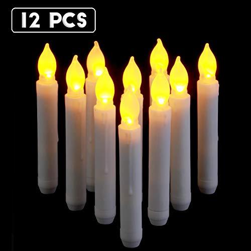 Raycare 12 Flammenlose LED Wachskerzen, Lichter, batteriebetrieben Harry Potter Kerzen für Party, Hochzeit, Kirche Dekorationen (MEHRWEG)