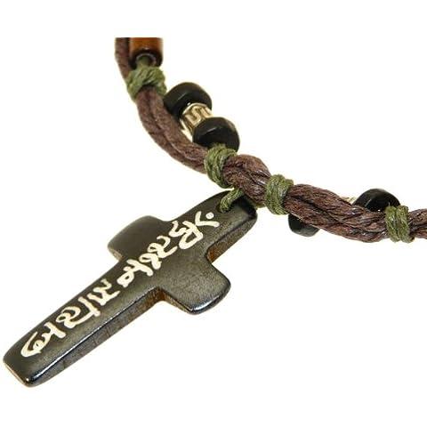Surfer cuerda del collar étnico con la cruz hueso tallado / crucifijo colgante y perlas de madera y metal -