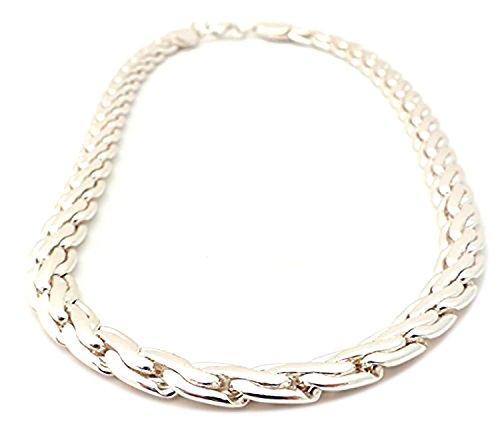 Halskette-silber Herren Damen-Platin silver Necklace Designer Silberkette Panzerkette Silver White für Herren und Damen 8,5mm - UKx7