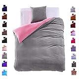 155x220 cm Bettwäsche mit 1 Kissenbezug 80x80 Mikrofaser Weich Warm Winter Kuschelig Bettbezug Bettwäschegarnitur grau rosa grey pink Furry