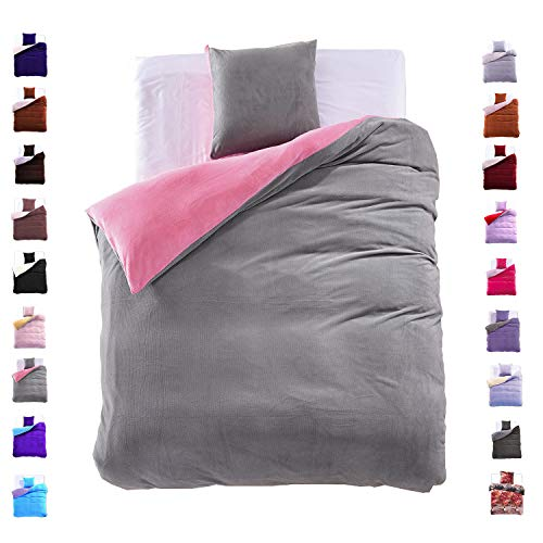 135x200 cm Bettwäsche mit 1 Kissenbezug 80x80 Mikrofaser Weich Warm Winter Kuschelig Bettbezug Bettwäschegarnitur grau rosa grey pink Furry