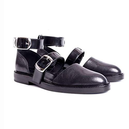 SEHRGUTGE Retro Mary Jane Schuhe für Damen, Leder Freizeitschuhe mit Knöchelriemen, geschlossene Zehe tief sitzende Schnalle römische Sandalen, Größe 34-43 EU - Retro Schwarz Mary Jane