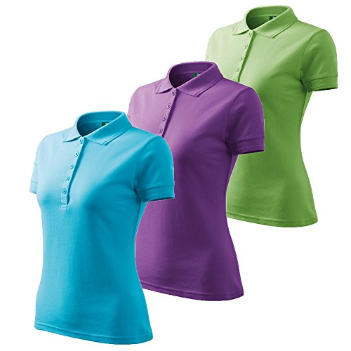 3er Pack Dress-O-Mat Damen Poloshirt T-Shirt Polohemd Tailliert Gr M türkis blau hell grün lila (Polo-shirts 3 Pack)