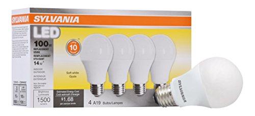 Sylvania Home Beleuchtung 78101-A19Sylvania, entspricht 100W, LED Lampe, 4Stück, effiziente 14W 2700K, weichen, weißen, 4Stück (Sylvania 100w Led-lampe)